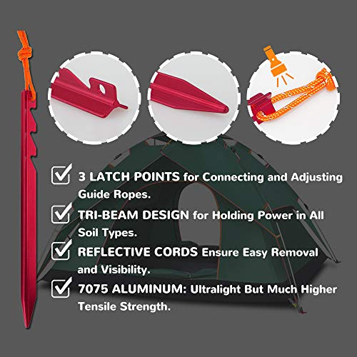 AnyGear 7075 Aluminum Tent Stakes 15 Pack - Ultralight Tri-Beam Tent Pegs with Reflective Rope - Essential Tent Accessories for Camping, Rain Tarps, Hiking, Backpacking