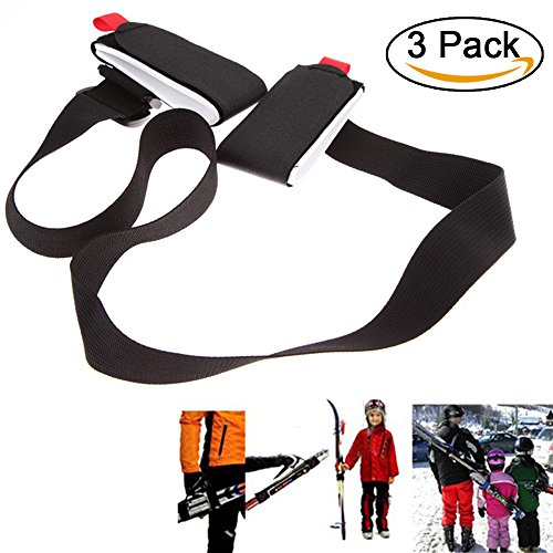 amorus Ski Tragegurt, 3 Pcs einstellbar Nylon Ski Schultergurt, Ski Haltegurt für Snowboard (3 Pcs)