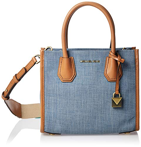 Michael Kors dames 'Mercer Shoulder Bag schoudertas, blauw (Washed Denim), 12x23x20 cm
