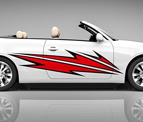 2x Seitendekor 3D Autoaufkleber Blitze rot Digitaldruck Seite Auto Tuning bunt Aufkleber Seitenstreifen Airbrush Racing Autofolie Car Wrapping Tribal Seitentribal CW142, Größe Seiten LxB:ca. 220x50cm