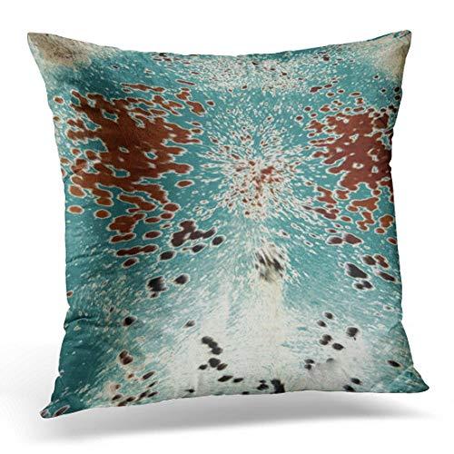 Jhonangel Throw Pillow Cover Faux Turquesa y Piel marrón Funda de Almohada Decorativa Decoración del hogar Funda de Almohada Cuadrada 18x18 Pulgadas