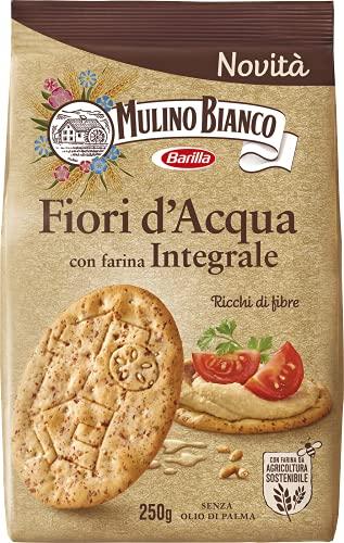 Mulino Bianco Cracker Fiori d'Acqua Integrali Ricchi di Fibre, Snack Salato per la Merenda, Senza Olio di Palma, 250 g