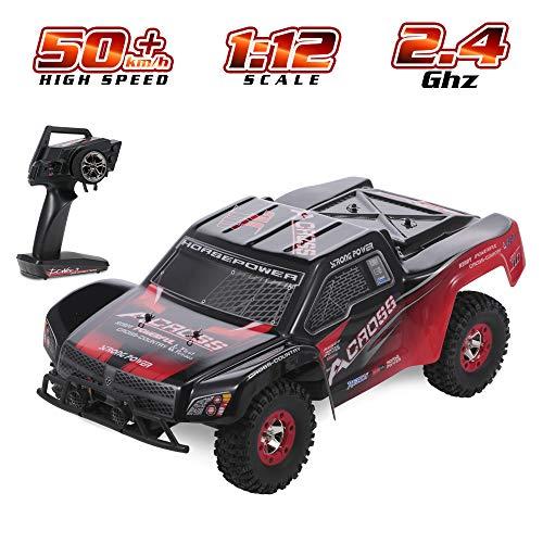 1/12 RC Car 2.4G 4WD SUV Big Foot Crawler Off Last Auto 50 km/h High Speed Short Course RTR RC Auto wiederaufladbare elektrisches Spielzeug mit 7,4V 1500mAh Lithium-Batterie