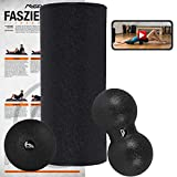 MSPORTS Faszienrolle + Massageball inkl. Übungsposter + Workout App GRATIS   FASZIENSET - Professional Studio Qualität   Massagerolle Foamroller (Schwarz)