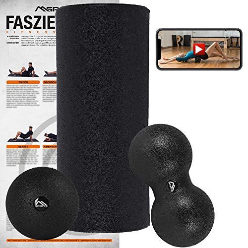 MSPORTS Faszienrolle + Massageball inkl. Übungsposter + Workout App GRATIS | FASZIENSET - Professional Studio Qualität | Massagerolle Foamroller (Schwarz)