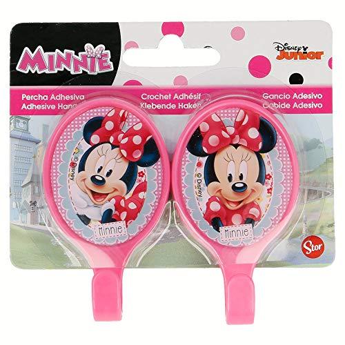Minnie Mouse Lot de 2 cintres ovales Autocollantes en Plastique 4,5 x 8 cm Couleur (Stor st-15011)