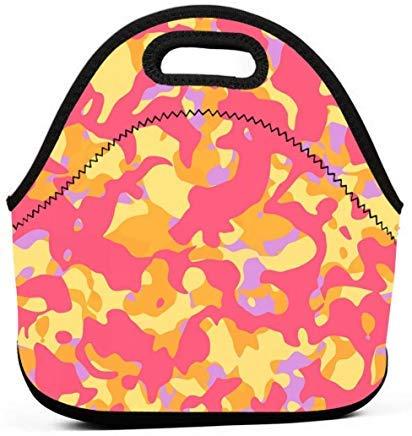 Wendana - Bolsas de almuerzo de neopreno con diseño abstracto de camuflaje en color naranja, rosa y amarillo