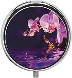 Millancty Orchidées pourpres et Gouttes dans l'eau fraîche Nature Zen Paysage Parfum Essence Pilule étui Voyage Pilule boîte