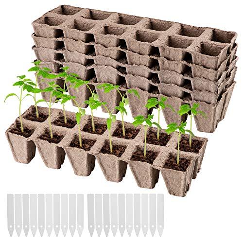 Danolt 60 Piezas Macetas Biodegradables, Bandeja de Plántulas Fibra Macetas Turba Semilleros con 20 Etiquetas Jardineria para el Crecimiento de Semillas