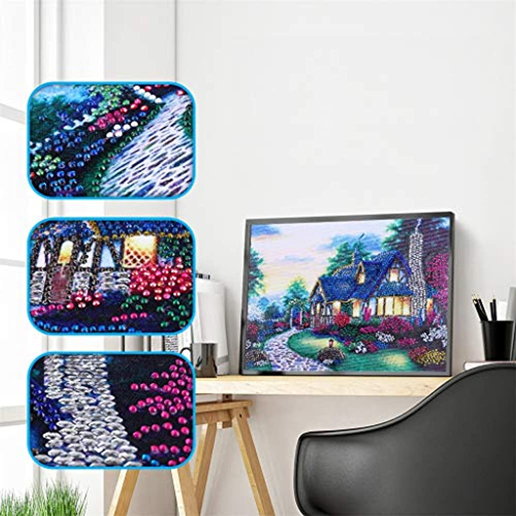 UmbWorld DIY 5D Diamond Painting, Crystal Rhinestone Diamond Embroidery Paintings Pictures Arts Craft by Number Kits for Adults Kids (House 1)