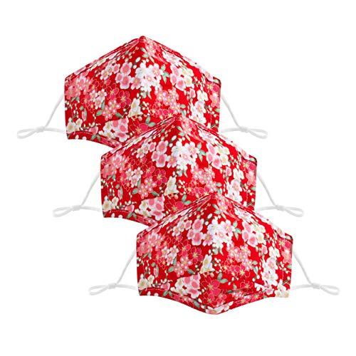1/3/5 Stück Mund Mundschutz Verstellbarer Ohrriemen Waschbar Blumenmuster Staubs-chutz Baumwolle Mundbedeckung für den Außenbereich Täglicher Gebrauch (3 Stück, F)