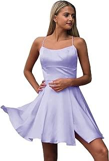 Jonlyc 2019 A-Line Spaghetti Straps Satin Short Homecoming Dresses with Slit