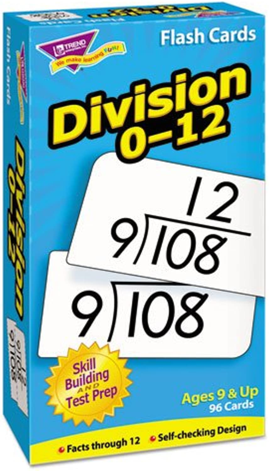 Trend - Math Flash Cards, Division, 0 To 12, 3 x5-7 8, Sold as 1 Each, TEPT53106