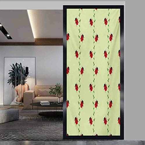 Stained Glass Window Film GlassStickers, Ladybugs Pattern with Insects Symmetrical Background Lit, Easy to Install and Reuse Glass Film, W35.4xH78.7 Inch