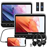 NAVISKAUTO 10.1' Dual Car DVD Players with HDMI 2 Free Headphones Support Sync TV/Phone, 1080P Video, Region Free, USB SD (2 x Headrest DVD Players)