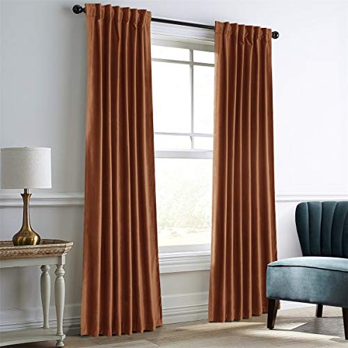"""IYUEGO Amber Gold Velvet Window Curtains for Bedroom,Blackout Velvet Curtain Thermal Insulated Back Top Window Curtain for Living Room (Set of one Panel, 84"""" Wx96 L)"""