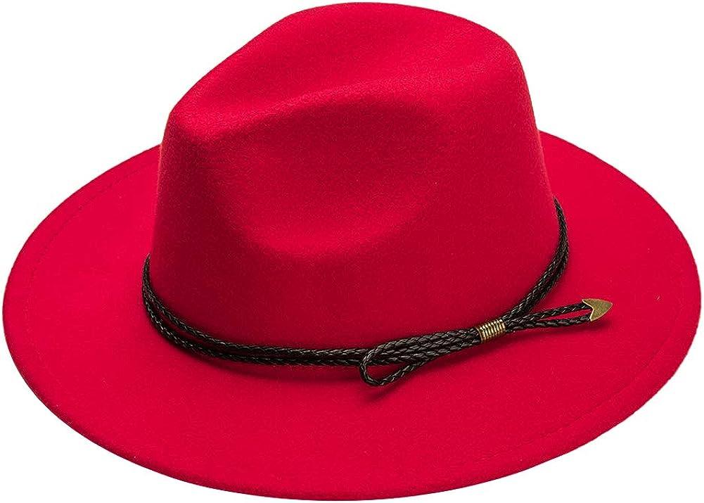 Wide Brim Fedora Hats for Women Felt Hat with Belt Buckle Floppy Panama Hat Top Hat