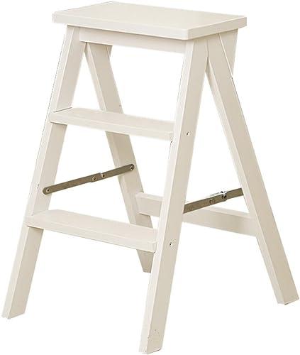 Yxsd Tabouret-échelle en Bois Massif Pliable en 3 étapes Escabeaux créatifs à Deux utilisations pour Chaise à échelle multifonctionnelle intérieure, tabourets Mobiles, 42x48x64cm (Couleur   Blanc)