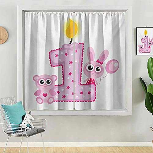 Sheer Curtains, 84 inches Long Rod Pocket Curtains for Bedroom, Girls Party Theme with First Candle Bunny and Bear Animals Image, Hot Pink Lilac