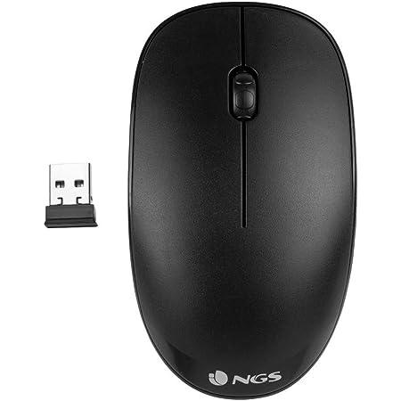 NGS FOG BLACK - Ratón Óptico Inalámbrico 2.4GHz, Ratón para Ordenador o Laptop Con 2 Botones y Scroll, 1000dpi, Ambidiestro, Negro