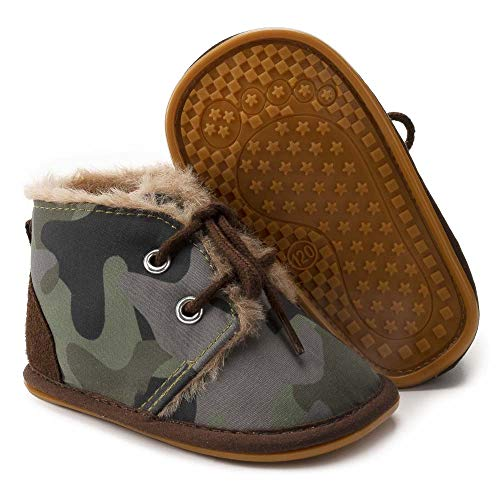 Tutoo Toddler Hiking Snow Boots Boys Girls Infant Baby Black Army Combat Work Boots Spring Winter Warm Plush Lining, A2/Brown(without Fur), 8.5 Toddler