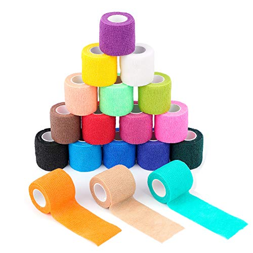 18 Pack Self Adherent Cohesive Wrap Bandages 2' X 5 Yards,Self Adhesive Bandage,First Aid Tape,Elastic Self Adhesive Tape,Athletic,Sports wrap Tape,Bandages Wrap for Sports,Wrist,Ankle,Rainbow Color
