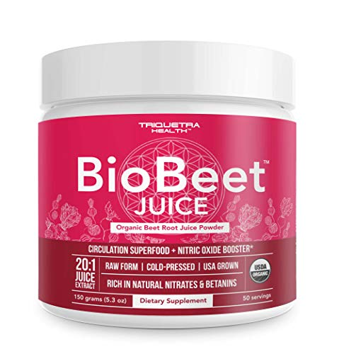 Beet Juice Powder 20x More Potent Than Beet Powder, Best Value – Organic, Cold-Pressed, Raw Form, USA Grown, Natural Nitric Oxide Booster, Pre-Workout, Increase Circulation (50 Servings)