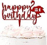 Decoración para tarta de cumpleaños personalizable con cualquier edad, color rojo oscuro