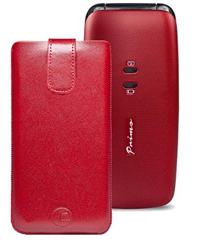 Original Favory Etui Tasche für / DORO Primo 401 / Leder Handytasche Ledertasche Schutzhülle Hülle Hülle *Speziell - Lasche mit Rückzugfunktion* in rot