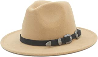 Fedora Cap Men Women Wool Fedora Hat Tea Party Hat Pop Panama Hat Casual Wild Church Hat Size 56-58CM Felt hat (Color : Khaki, Size : 56-58)