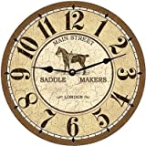 Lionkin8 Main Street Saddle Makers Clock- Horse Wall Clock-Equestrian Clock - 12 inch