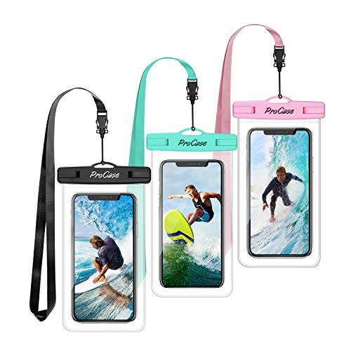 "ProCase 3 Bolsas Impermeables Universales para iPhone 12 Mini/Pro/Pro MAX/iPhone SE 2020/XS Max/XR/X/8/7+, Galaxy S20/S20+/S10/S10e/S9/S9+/Note8, Huawei Xiaomi LG BQ hasta 6.9"" -Azul/Negro/Rosa"