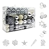 Juego de 113 bolas de Navidad de plástico, color plateado y blanco, decoración para el árbol de Navidad, en diferentes tamaños y diseños, plata y blanco