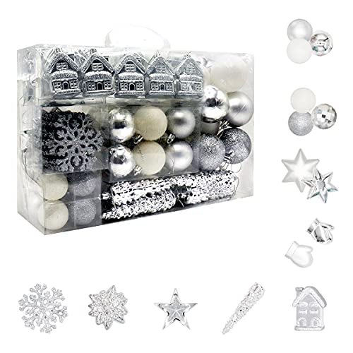 Juego de 113 bolas de Navidad de plástico, color plateado y blanco, decoración para el árbol de Navidad, en diferentes tamaños y diseños, plata y blanco ✅