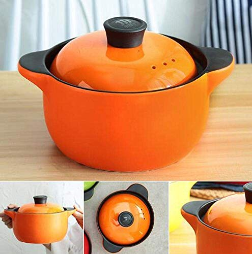 LIUSHI Keramikeintopf Slow Cooker Pot Gasherd im japanischen und koreanischen Stil - Bright Fire Color Health Hochtemperatur-Keramiksuppentopf Tontopf, Orange