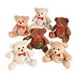 Holiday Patchwork Stuffed Bears - Christmas Toys and Stocking Stuffers for Kids - 12 Pieces