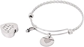"Minicremation ""Always by My Side"" Heart Urn Bangle Twist Ashes Keepsake Bracelet Memorial Pendant +Fill kit (Sliver 1)"