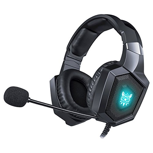 WONSUN Gaming Headset PS4 Xbox One, Gamer mit Mikrofon, Anti-Bruit, LED, Stereo, Niedrige Lautstärkeregelung mit 3,5 mm Klinke für Nintendo Switch PC Laptop Tablet Smartphones Blau Blau