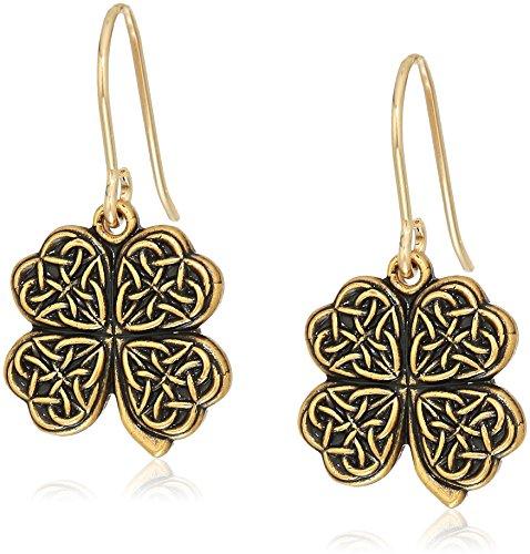 Alex and Ani Womens Four Leaf Clover Hook Drop Earrings, Rafaelian Gold, Expandable