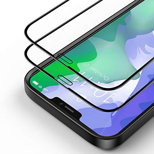Bewahly Panzerglas Schutzfolie für iPhone 12/iPhone 12 Pro [2 Stück], 3D Full Screen Panzerglasfolie HD Displayschutzfolie 9H Härte Glas Folie mit Positionierhilfe für iPhone 12 Pro 6.1' - Schwarz