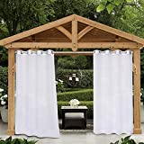 SHEEROOM Sheer Outdoor Curtains for Patio Waterproof, White, 52 x 84 Inches Long - Indoor Privacy Voile Drapes, Grommet Semi-Sheer Curtains for Bedroom, Pergola, Porch, Gazebo and Cabana, 2 Panels