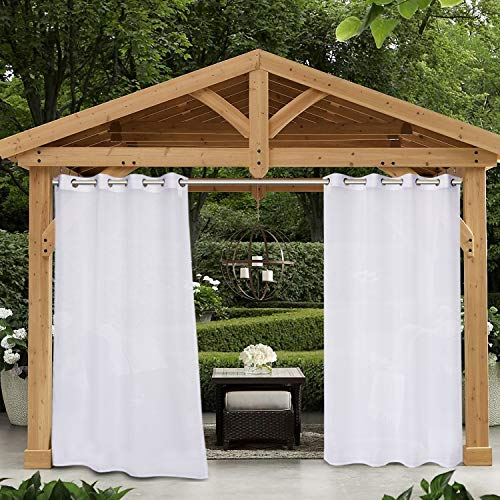 SHEEROOM Sheer Outdoor Curtains for Patio Waterproof, White, 52 x 108 Inches Long - Indoor Privacy Voile Drapes, Grommet Semi-Sheer Curtains for Bedroom, Pergola, Porch, Gazebo and Cabana, 2 Panels