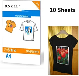 10 láminas de papel transfer para imprimir en camisetas oscuras, tamaño 21,6 x 27,9 cm, papel A4