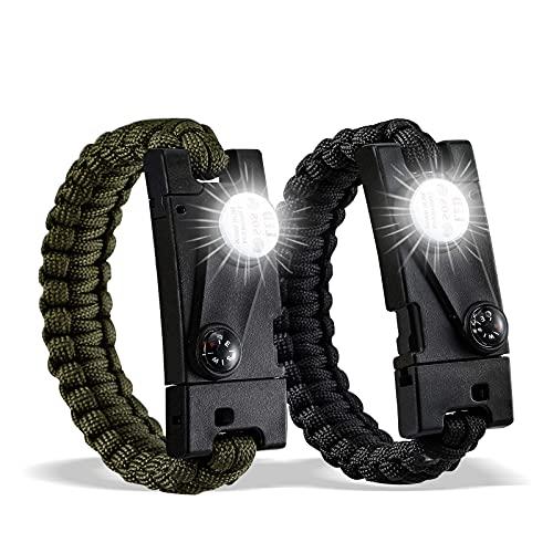 DAYFULI Paracord Survival Bracelet (2 Pack) The...