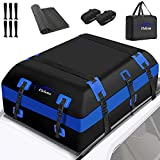 Rooftop Cargo Carrier Bag Expandable 21 Cubic Ft Waterproof Soft Car Top Carrier with Anti-Slip Mat & Storage Bag 6 Door Hooks 2 Luggage Straps 700D PVC Car Roof Bag for All Vehicle SUV with /No Rack