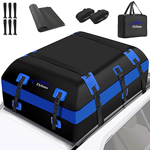 Rooftop Cargo Carrier Bag Expandable 21 Cubic Ft Waterproof Soft Car Top Carrier with Anti-Slip Mat...