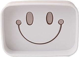 Exquisite soap Box Smiling Pattern Soap Dish Double-Layer Self Draining Soap Saver Case Plastic Rectangular Bathroom Soap Holder Sink Deck Bathtub Sponge Container Light Purple One Size