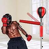 Saco de boxeo con soporte y 14 ventosas, 1,9 m de alto, con bomba de bola de alta velocidad, saco de arena reflectante con barra de reacción giratoria de 360°, color rojo