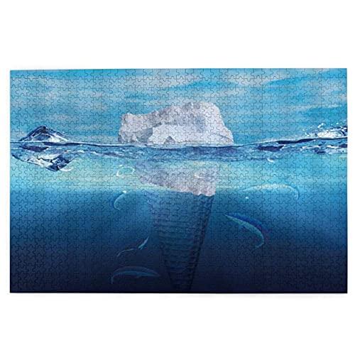 DGJL Iceberg Ice Cream Shaped Creative Fantasy Art Iceberg Float Enorme Helado Bajo el Mar 1000 Piezas Madera Jigsaw Puzzles, Regalo Creativo, Juguetes Clasicos para Adultos