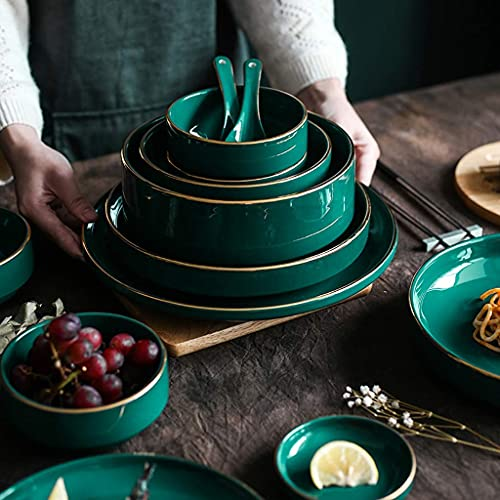 HCFSUK Juego de vajilla de cerámica, Juego de vajilla de Porcelana de 35 Piezas, Juegos de Platos y Cuencos Verde malaquita